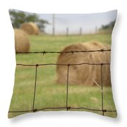 Wire And Hay Throw Pillow by Jewels Blake Hamrick