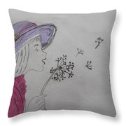 Wish Upon A Dandelion In Colour Throw Pillow by Jennifer Schwab