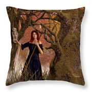 Witch Of The Autumn Forest  Throw Pillow by Daniel Eskridge
