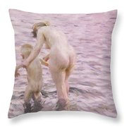 With Mother Throw Pillow by Anders Leonard Zorn