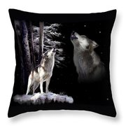 Wolf  Howling Memory Throw Pillow by Regina Femrite