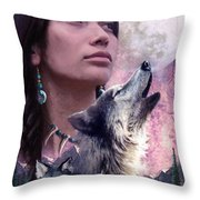 Wolf Montage Throw Pillow by Garry Walton