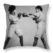 Woman Boxing Throw Pillow by Digital Reproductions