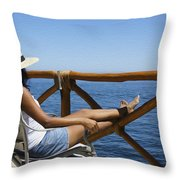Woman Enjoying The View  Throw Pillow by Aged Pixel