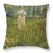 Woman In A Garden Throw Pillow by Vincent van Gogh