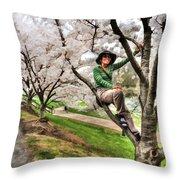 Woman In Tree Throw Pillow by Dan Friend