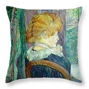 Woman Sitting In A Garden Throw Pillow by Henri de Toulouse-lautrec