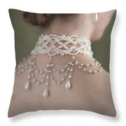 Woman Wearing A Pearl Necklace And Earring Set Throw Pillow by Lee Avison