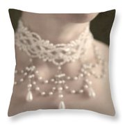 Woman With Pearl Choker Necklace Throw Pillow by Lee Avison