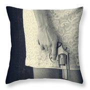 Woman With Revolver 60 X 45 Custom Throw Pillow by Edward Fielding
