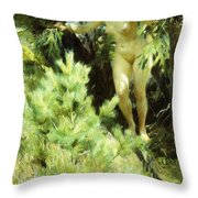 Wood-sprite Throw Pillow by Anders Leonard Zorn