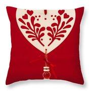 Wooden Heart Throw Pillow by Anne Gilbert