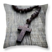 Wooden Rosary Throw Pillow by Aged Pixel