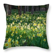Woodland Daffodils Throw Pillow by Bill Wakeley