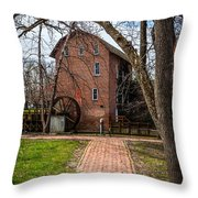 Wood's Grist Mill In Hobart Indiana Throw Pillow by Paul Velgos