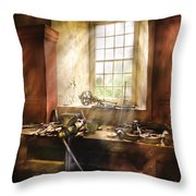 Woodworker - Many Old Tools Throw Pillow by Mike Savad
