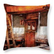 Woodworker - Old Workshop Throw Pillow by Mike Savad