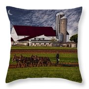 Working The Fields Throw Pillow by Susan Candelario