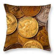 World Coins Throw Pillow by Mark Miller
