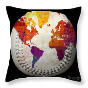 World Map - Rainbow Bliss Baseball Square Throw Pillow by Andee Design
