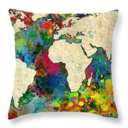 World Map Colorful Throw Pillow by Gary Grayson