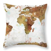 World Map Watercolor 3 Throw Pillow by Paulette B Wright