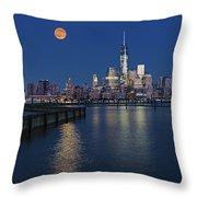 World Trade Center Super Moon Throw Pillow by Susan Candelario