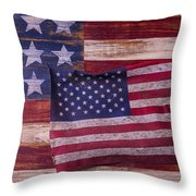 Worn American Flag Throw Pillow by Garry Gay