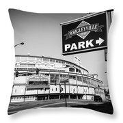 Wrigley Field And Wrigleyville Signs In Black And White Throw Pillow by Paul Velgos