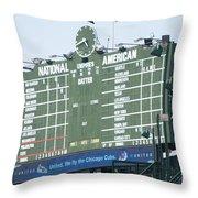 Wrigley Field Scoreboard Sign Throw Pillow by Paul Velgos