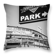 Wrigleyville Sign And Wrigley Field In Black And White Throw Pillow by Paul Velgos