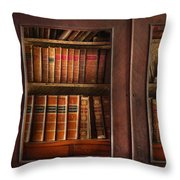 Writer - Books - The book cabinet  Throw Pillow by Mike Savad