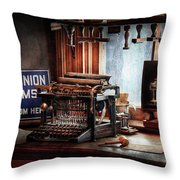 Writer - Typewriter - The aspiring writer Throw Pillow by Mike Savad