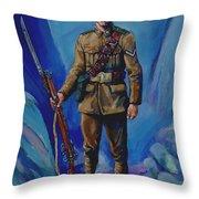 Ww 1 Soldier Throw Pillow by Derrick Higgins