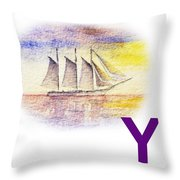 Y Art Alphabet For Kids Room Throw Pillow by Irina Sztukowski