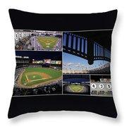 Yankee Stadium Collage Throw Pillow by Allen Beatty