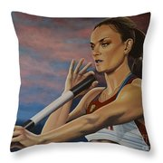 Yelena Isinbayeva   Throw Pillow by Paul Meijering