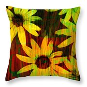 Yellow And Green Daisy Design Throw Pillow by Ann Powell