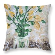 Yellow Bouquet Throw Pillow by Molly Roberts