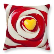 Yellow Candy Heart On Sucker Throw Pillow by Garry Gay