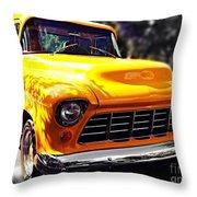 Yellow Chevy Throw Pillow by Garren Zanker