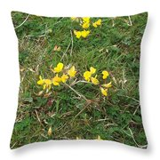 Yellow Flowers Throw Pillow by John Williams