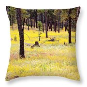 Yellow Forest Throw Pillow by Kume Bryant