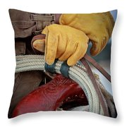 Yellow Gloves Throw Pillow by Inge Johnsson