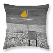 Yellow Hazard Throw Pillow by Susan Leggett
