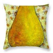 Yellow Pear On Squares Throw Pillow by Blenda Studio