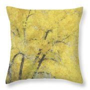 Yellow Trees Throw Pillow by Ann Powell