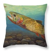 Yellowstone Cut Takes A Salmon Fly Throw Pillow by Rob Corsetti