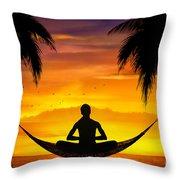 Yoga At Sunset Throw Pillow by Bedros Awak