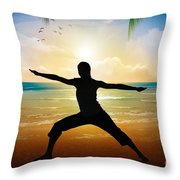 Yoga On Beach Throw Pillow by Bedros Awak